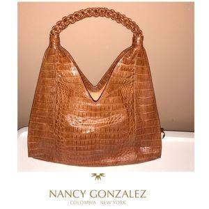 NANCY GONZALEZ BRAIDED TOP HANDLE CROCODILE HOBO